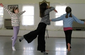 Homeschoolers improvisational dance class: three arabesques